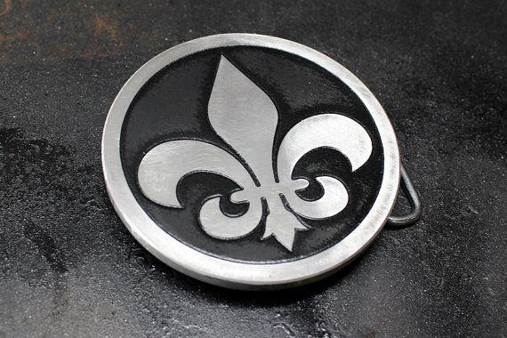 Fleur De Lis NOLA Custom Belt Buckle Etched Metal French