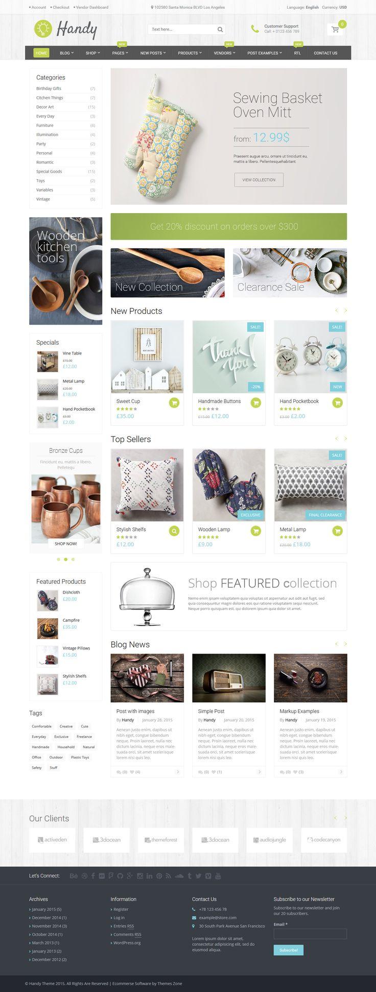 Handy - Handmade Shop WordPress WooCommerce Theme #shoptheme #wordpress #woocommerce Live Demo & Download: http://graphicbattle.blogspot.com/2015/05/10-new-woocommerce-theme-wordpress.html