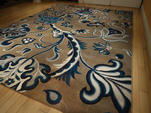 Large Beige Rug 8x11 Dining Room Rug 8x10 Multicolor Beige Blue Gray and Black Floor Carpet 8x10 Blue Beige Rug 8'x10' Rug (Large 8x11)