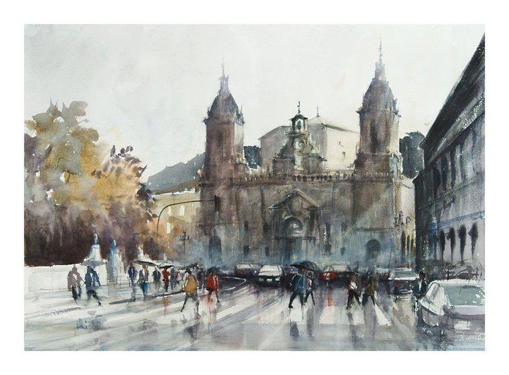 St. Nicholas Church. Bilbao, Spain, watercolour by Michal Jasiewicz, Poland.Available       bpbilbao@gmail.com