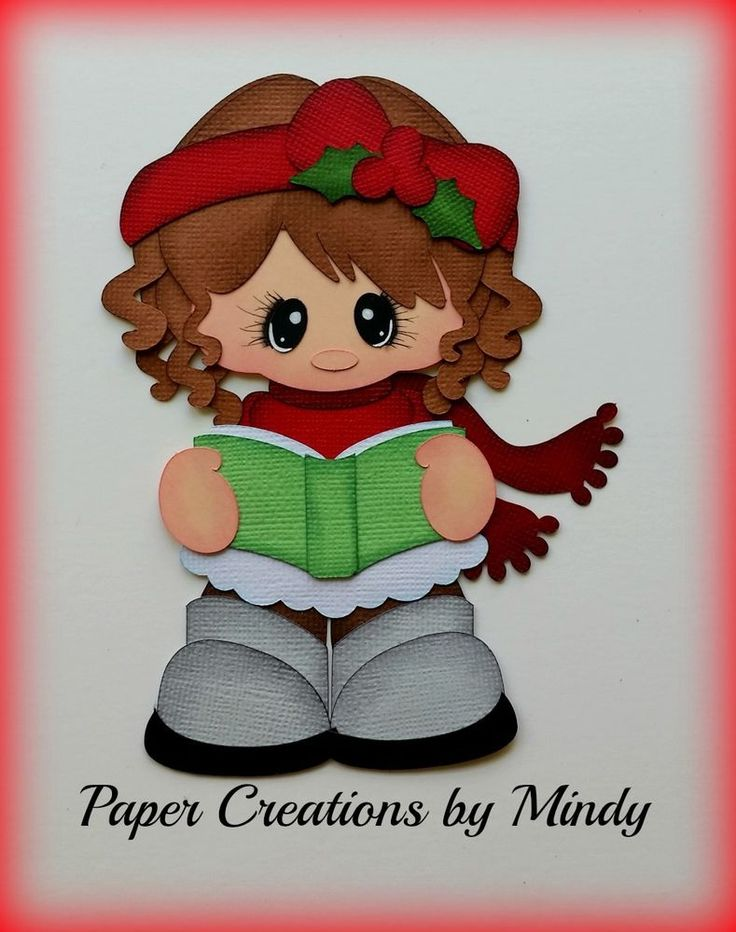 Craftecafe Mindy Christmas Caroling girl premade paper piecing scrapbook page