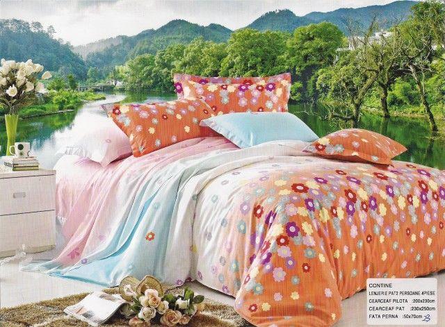 AlyShop: Lenjerie pentru pat dublu din bumbac ranforce cu flori multicolore