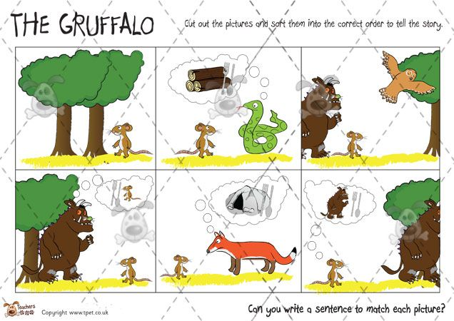 Teacher's Pet - Gruffalo Feature Descriptions (b&w) - Premium Printable Game / Activity - EYFS, KS1, KS2, grufalo, julia, donaldson, monster...