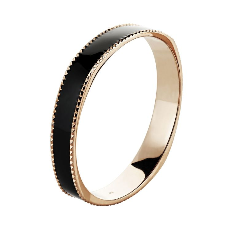 Oxette rose Gold plated with black enamel Bracelet - Available here: http://www.oxette.gr/kosmimata/vrahiolia/iprg-bracelet-black-enamel-oxette-529l-1/