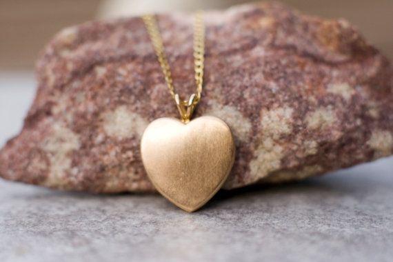 14k gold locket necklace heart locket necklace solid 14k by ARPELC