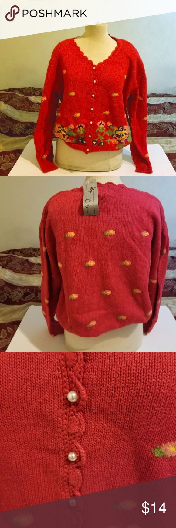 "WYE OAK RED CARDIGAN  SWEATER SZ 20W NEW NWT Brand new with tag red cardigan with pearl buttons size 20W. 45% Cotton, 55% Ramie. Made in Indonesia. Measurements:  Length: 25"" Bust: approx 48 -49"" around WYE OAKS Sweaters Cardigans"