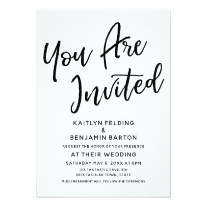 """#""""You Are Invited"""" Casual Modern Script Wedding Card - #GroomGifts #Groom #Gifts Groom Gifts #Wedding #Groomideas"""
