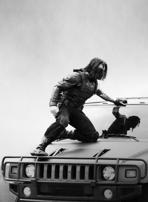 Ok, but away of all seriousness of the winter soldier, it looks like he is waxing the car or something