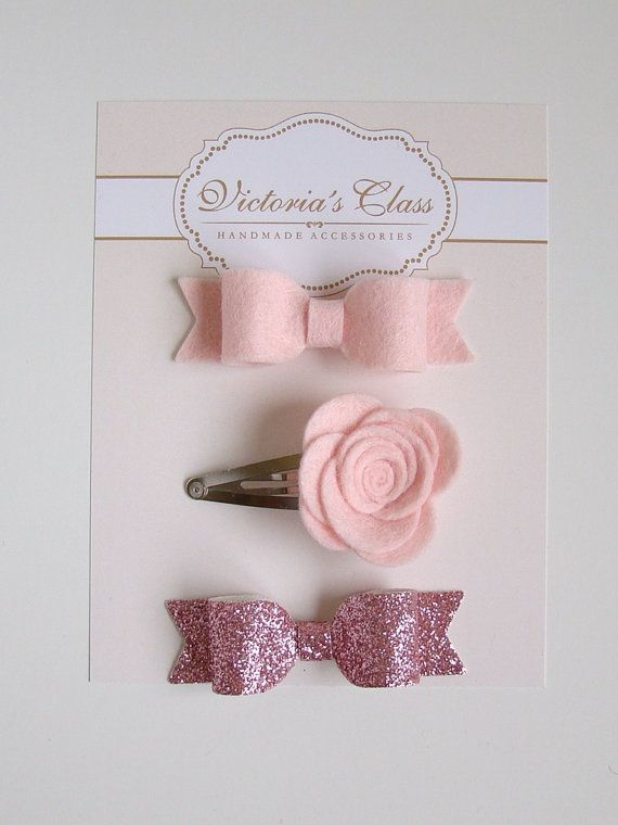 Toddler Hairclips Flower Set Felt Bow Hair Clip by VictoriasClass