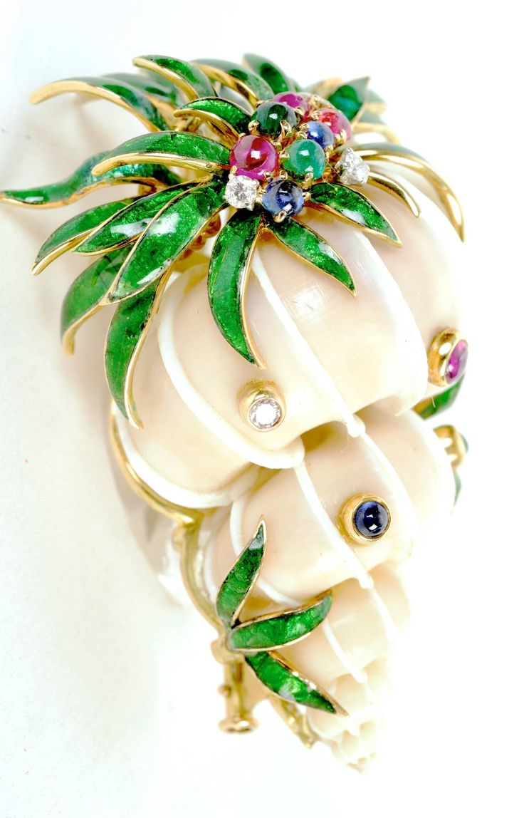 David Webb Rare Jeweled Shell Brooch | From a unique collection of vintage brooches at https://www.1stdibs.com/jewelry/brooches/brooches/