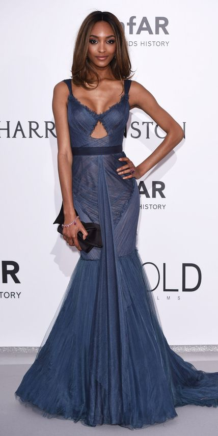 Cannes 2015: Jourdan Dunn in Vera Wang with Chopard jewels.