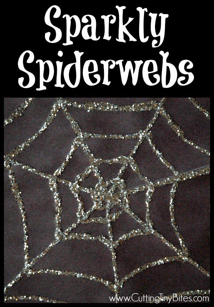 Sparkly Spiderwebs.  EASY Halloween craft for preschoolers.