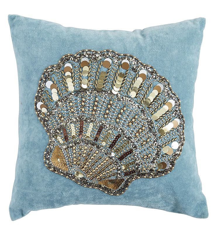 Cozy up to the coastal feel. Pier 1's glittering beaded accent pillow showcases the intricate details of the iconic scallop seashell. Hand-embroidered on soft blue cotton velvet, it's perfect for home or beach house.