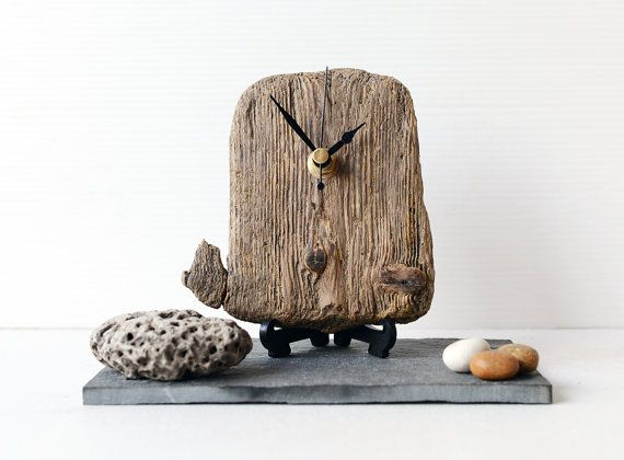 Driftwood Desk Clock - Beach Clock - Recycled Wood - Natural Clock - Wood Nautical Clock