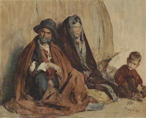 Henri Alexandre Georges REGNAULT (1843-1871) Famille espagnole, 1868 Aquarelle. Monogrammée, datée et située Madrid en bas à droite.