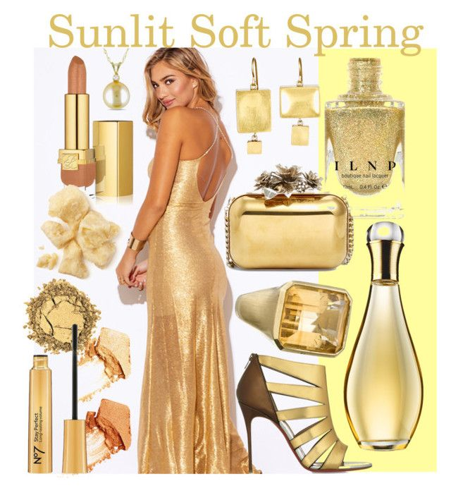 Sunlit Soft Spring by prettyyourworld on Polyvore featuring beauty, NARS Cosmetics, Estée Lauder, Christian Dior, Judy Geib, Allurez, Jimmy Choo and Christian Louboutin