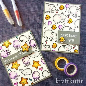 card sea creatures critters of the sea starfish jellyfish whale Lawn Fawn So Jelly stamp set + birds hippo Zobrazit tuto fotku na Instagramu od uživatele