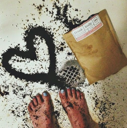 I <3 my frank body: I'll target cellulite, stretch marks, psoriasis, varicose veins, eczema, acne and scarring with roasted and ground robusta coffee beans.  I'll smooth your lumps and bumps with brown sugar & sea salt, moisturise and tone your skin with cold pressed sweet almond oil, and use vitamins & minerals to work wonders from the outside in.  Then I'll make us both smell good with a little orange essence.