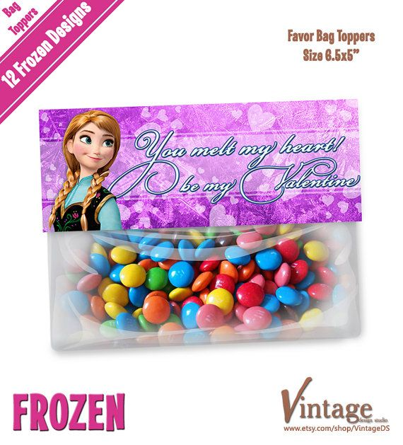 Disney Frozen Valentine Favor Bag Toppers digital by VintageDS, $4.99