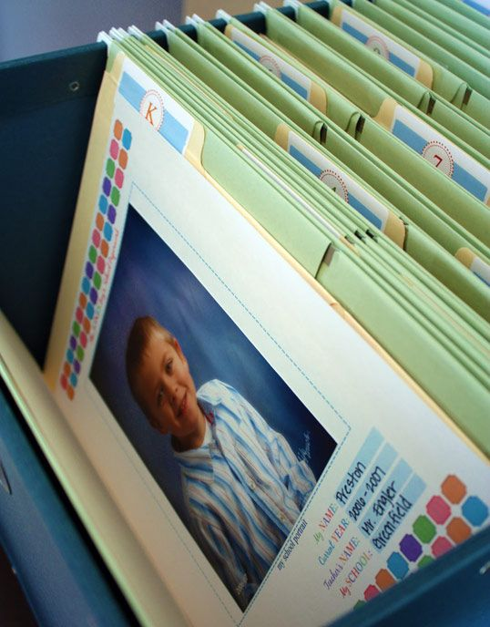 Great way to store and organize your child's school pictures, projects, etc.  Your child's schoolwork can accumlate quickly so having a storage plan is a must! I love this file box:http://store.theorganizedparent.com/organized/category/prod290028/New-OP-Storage-Boxes-Bins/John-Classic-Filebox-6-Hanging-Files-by-Bigso-Box-of-Sweden?skuId=38858