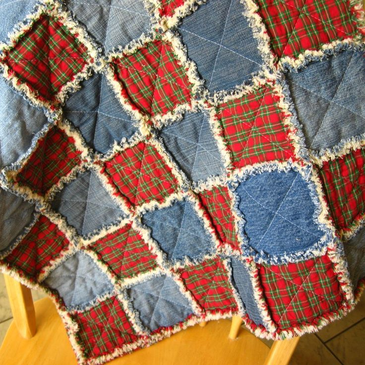 denim flannel quilts - squares of red plaid flannel & denim alternating
