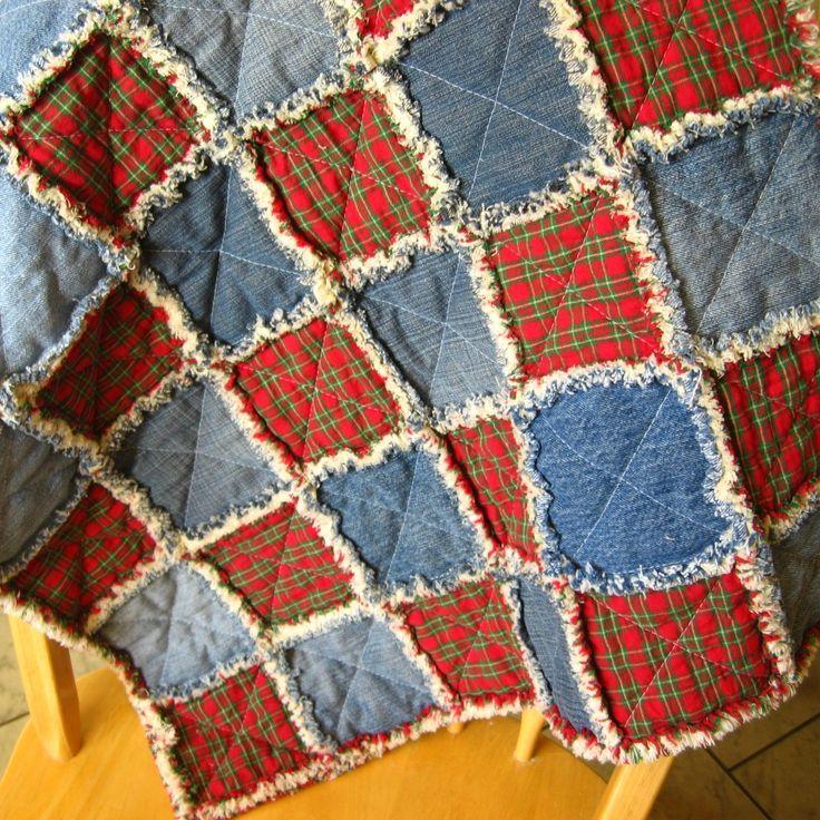 denim flannel quilts – squares of red plaid flannel & denim alternating
