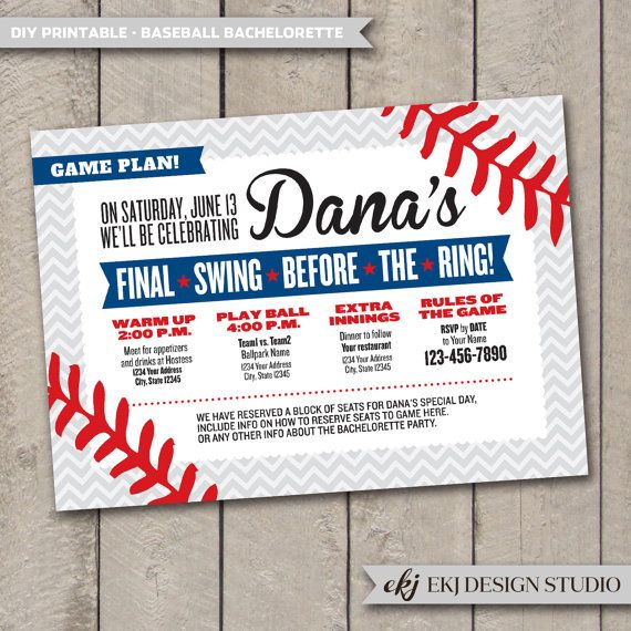 DIY Printable BASEBALL Bachelorette Invitation by EKJdesignstudio