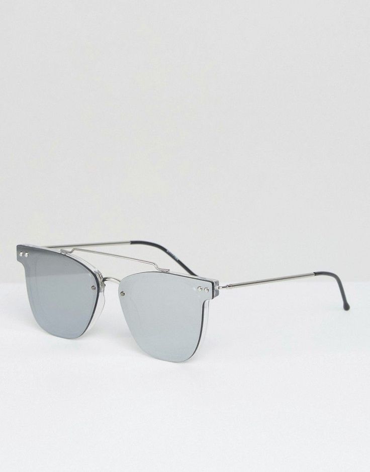 Spitfire Flat Lens Sunglasses with Mirror Lens and Silver Metal Double