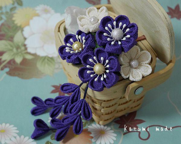 katumi made *つまみ細工の簪(かんざし)髪飾り、つまみ細工のshop*つまみ細工Uピンの髪飾りセット(紫、ブルー系)