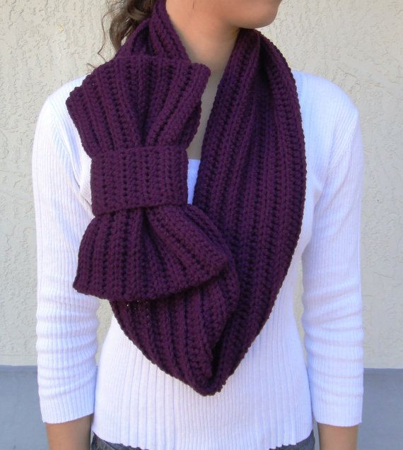 Plum Purple Bow Infinity Scarf, Chunky Neck Warmer / Cowl, crocheted, handmade by vintagelookcreation2 | Crochet neck warmer, Chunky crochet, Hand crochet