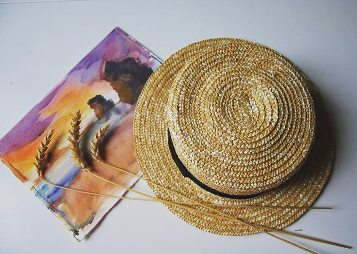 солнечное соломенное канотье с узким полем от kapeluh_ua