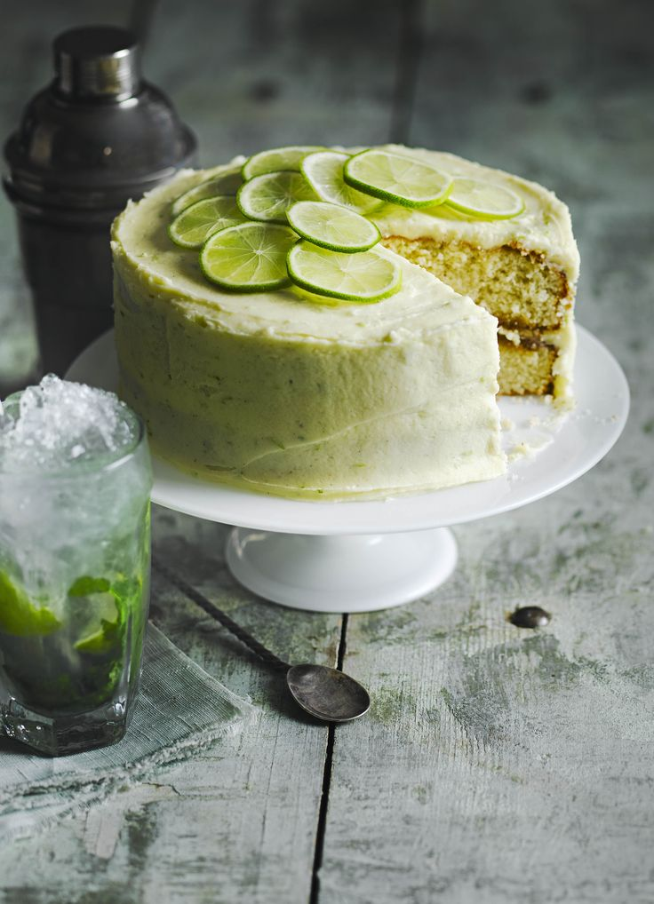 Mojito Cake: soaked in a mojito-infused sugar syrup and covered with lime buttercream.