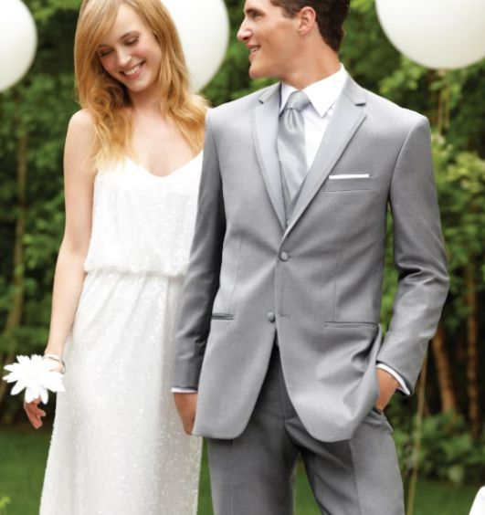 Grey is a gorgeous choice for your outdoor wedding! Coordinating well with any colors, you can create a look at will certainly wow your guests.  #grey #suit #greysuit #wedding #weddingsuit #suitrental #tuxedojunction