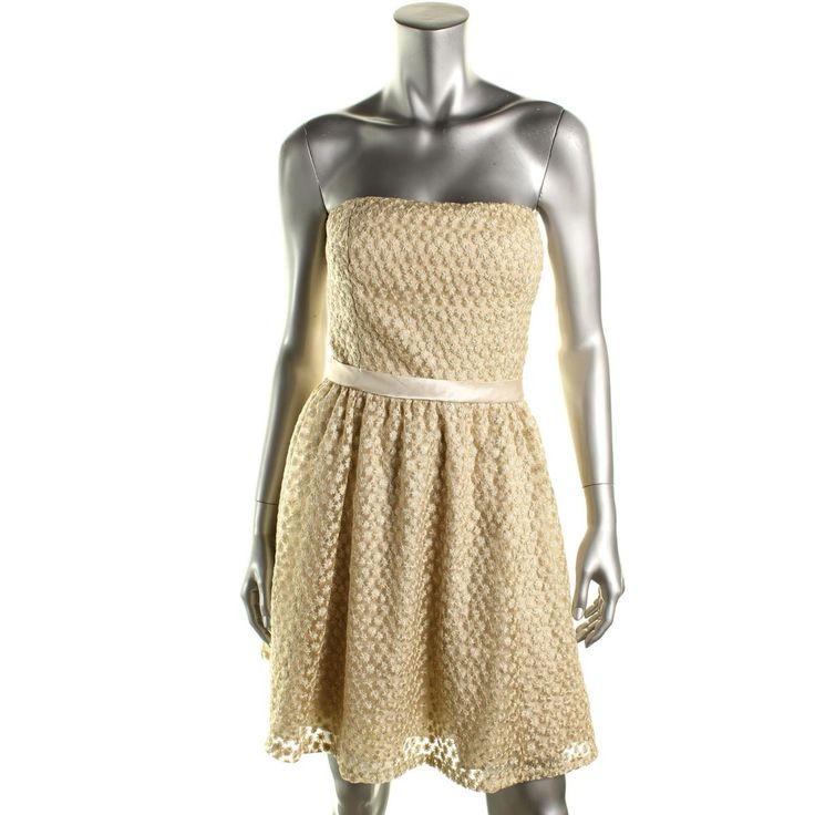 Aidan Mattox Womens Mesh Metallic Party Dress