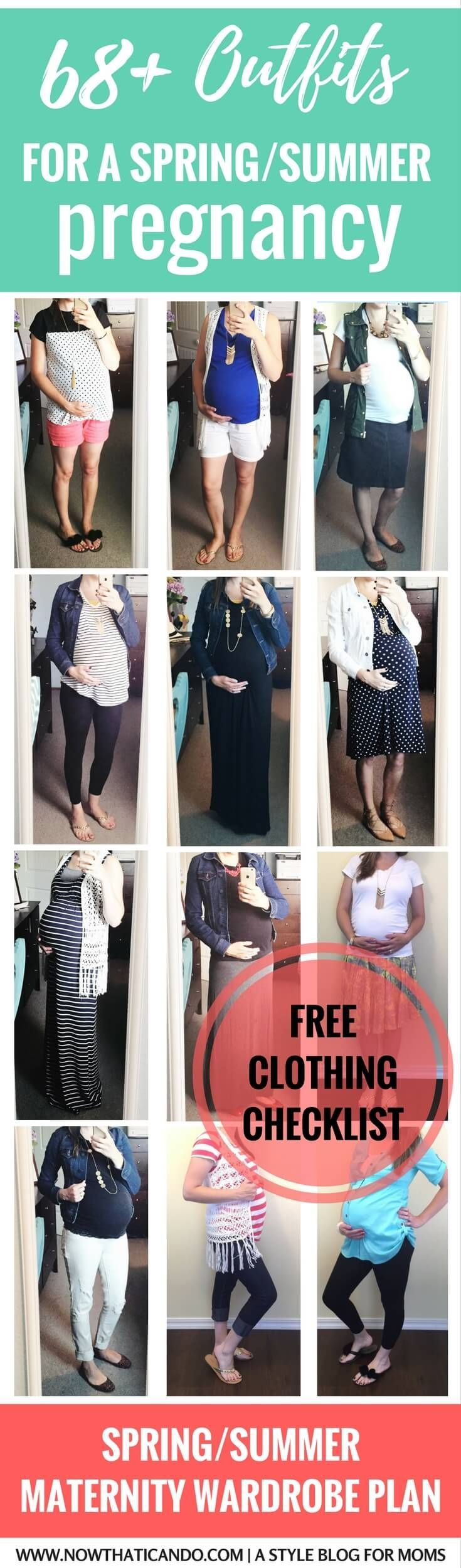 Inspiration for cute maternity outfits for pregnant moms. These are stylish but still comfy! Click for a free clothing checklist on the blog!
