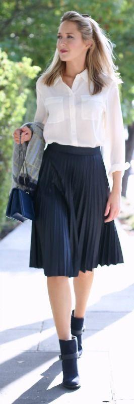 navy pleated skirt, silk white blouse, plaid cardigan, navy booties, crossbody bag + aviators {zara, equipment, vince camuto, aquatalia, 3.1 pillip lim, ray-ban}