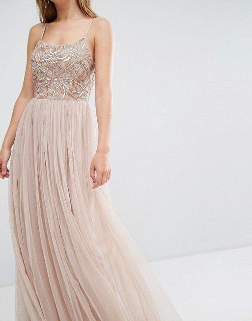 Maya | Maya Cami Strap Maxi Dress with Tulle Skirt and Embellishment