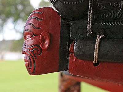 Carved figurehead of the waka taua (war canoe) Ngatokimatawhaorua, built by the Ngā Puhi people for the 1940 centenary of the signing of the Treaty of Waitangi. At Waitangi Treaty Grounds, Waitangi, Bay of Islands, New Zealand. This canoe is launched each February 6 at the celebrations of the Treaty of Waitangi, and on other special occasions.                   Waka-Waitangi-profile.jpg