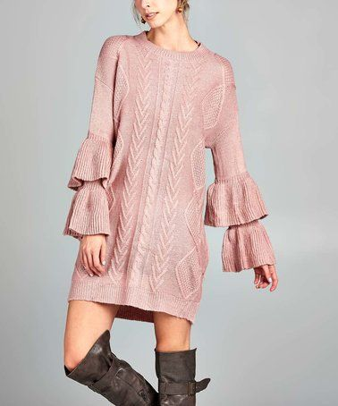 a89a25edc7 Look what I found on  zulily! Mauve Ruffle-Sleeve Sweater Dress  zulilyfinds