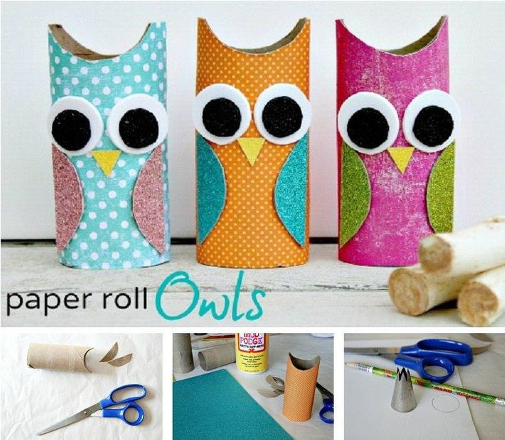 DIY Paper Roll Owls. Could store pencils or other suplies here!