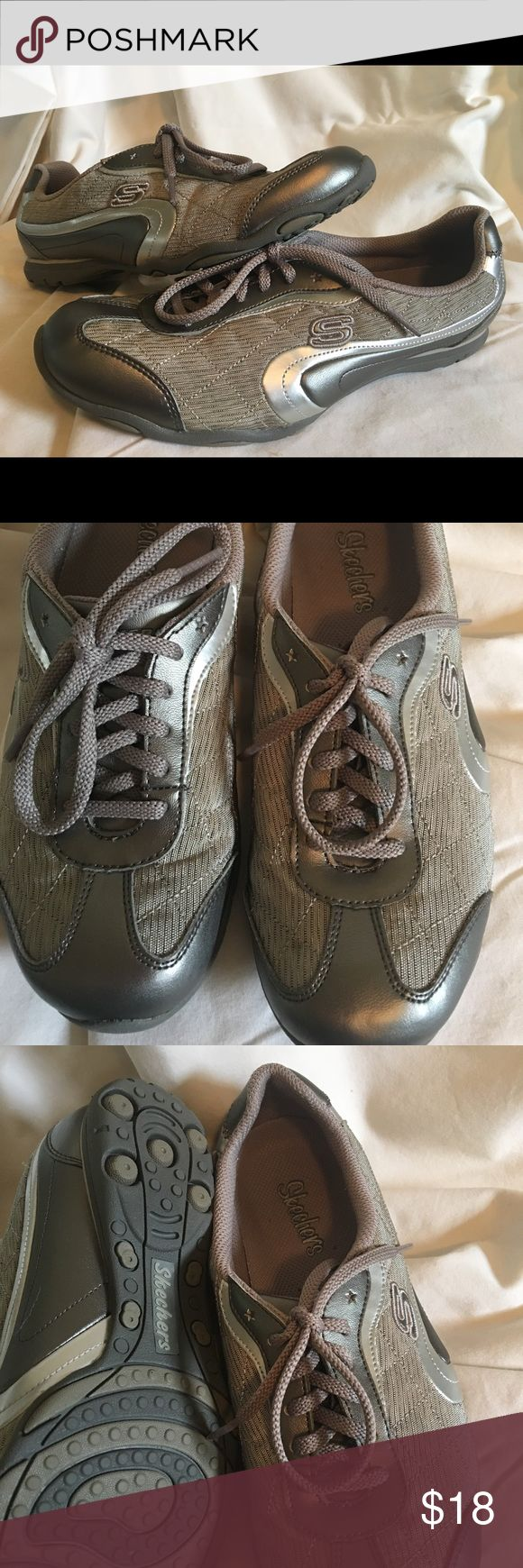 ❤ladies Skechers❤ EUC WORN ONCE! Super cute casual wear ladies Skechers colors are a platinum and taupe color. Skechers Shoes Athletic Shoes