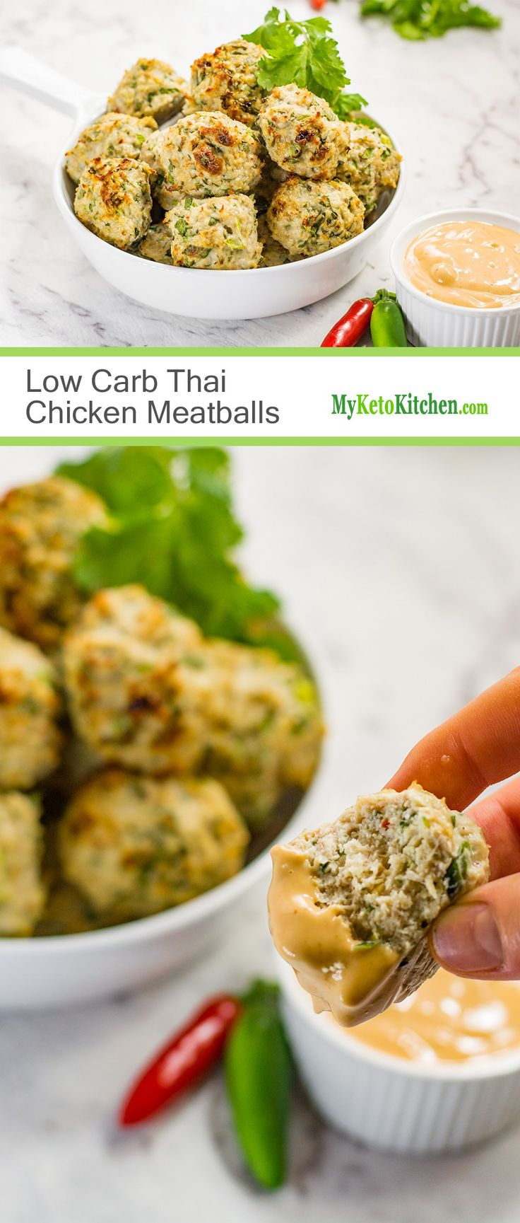Low Carb Thai Chicken Meatballs with Dipping Sauce (Gluten Free, Keto, Paleo)