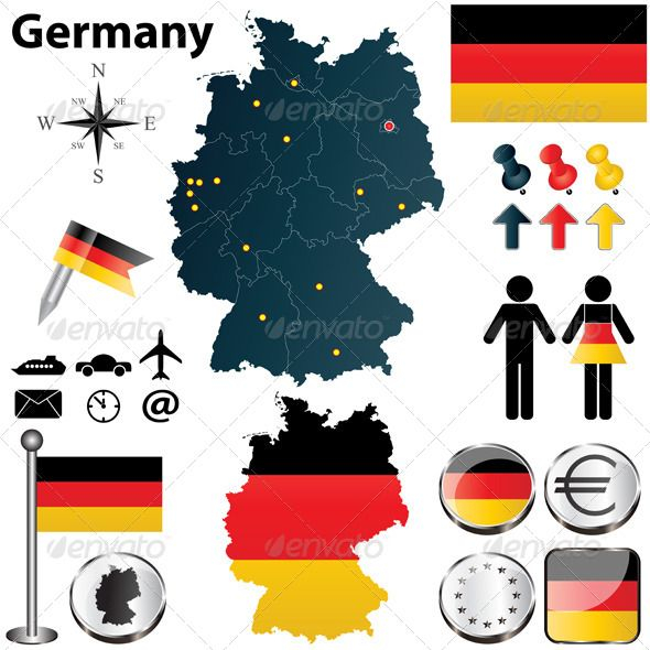 Map of Germany with Regions #GraphicRiver Vector set of Germany country shape with flags and icons isolated on white background. Package contains: EPS (10 version), JPG (5000×5000 pixels, RGB).