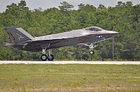 June 22,2013.Lt.Cmdr.Christopher Tabert,F-35C Lightning II instructor pilot, USN Strike Fighter Squadron VFA-101 lands at Eglin AFB's 33d Fighter Wing after a 2hr flight from Ft.Worth,Texas.USN's Strike Fighter Sqdn 101 received 1st F-35C Lightning II carrier variant at the sqdn's home Eglin AFB,Fla.VFA101,will serve as the F-35C Fleet Replacement Squadron, training both aircrew & maintenance personnel to fly & repair the F-35C.USAF Photo Maj.Karen Roganov,33d Fighter Wing Public Affairs