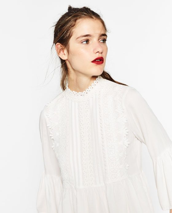 Image 5 of GUIPURE BIB FRONT BLOUSE from Zara