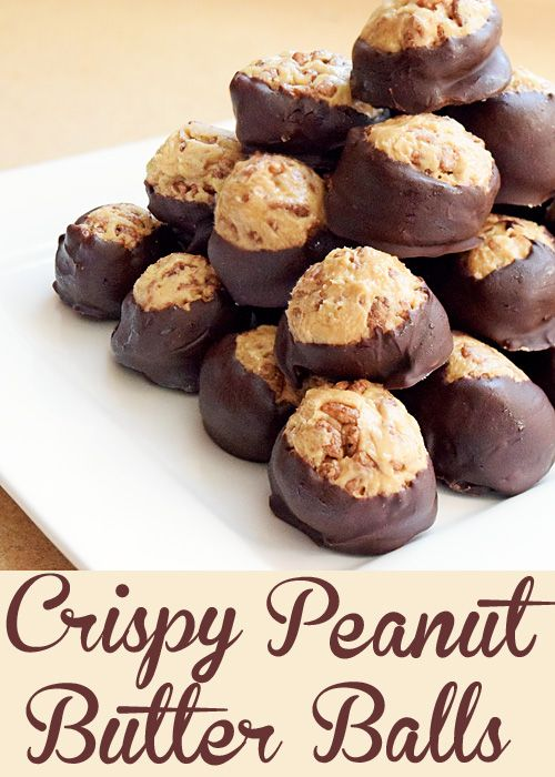 Crunchy Peanut Butter Balls Recipe with Cocoa Rice Krispies and covered in chocolat