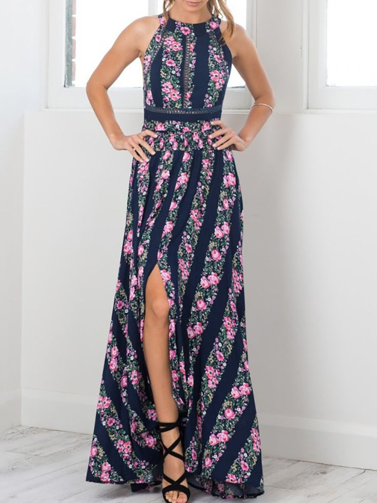 Trendy High Slit Floral Maxi Dress