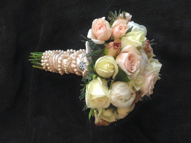 Blush pink roses - pearl wrapped handle @weddingflowersetc