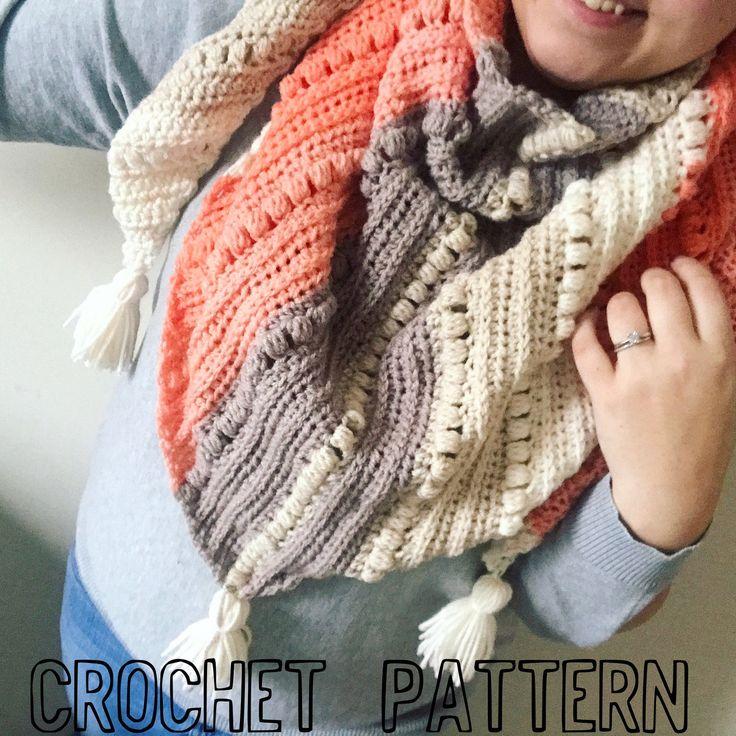 Crochet Scarf PATTERN- Triangle Scarf- Cowl- Shawl- Oversized scarf- Big scarf-Sawyer Scarf- Crochet triangle scarf- Scarf with tassels- Coz