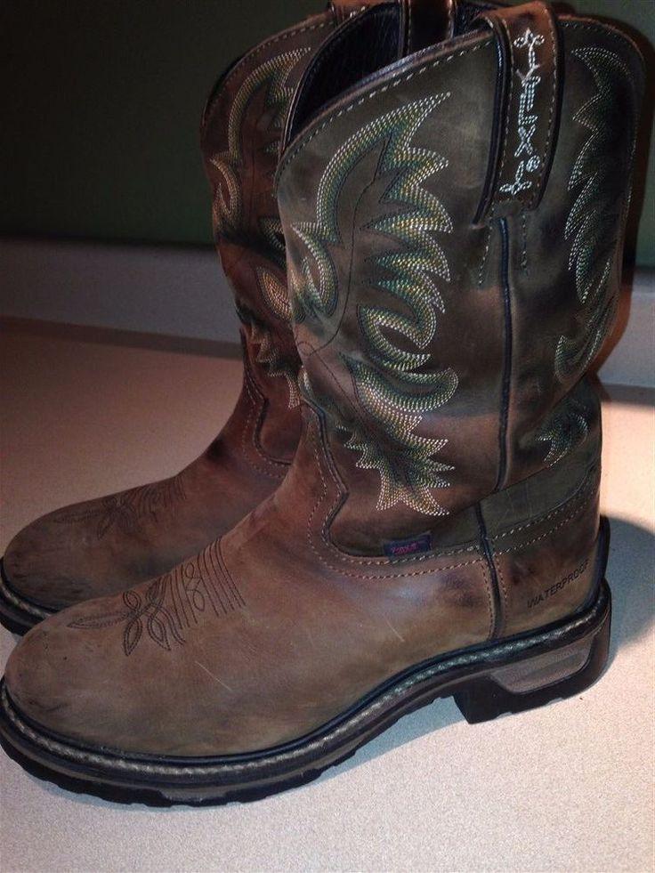 Tony Lama Boots Americana Brown Leather Western Cowboy TW1018 9.5 EE Waterproof #TonyLama #CowboyWestern
